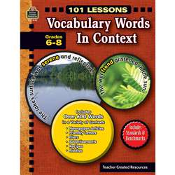101 Lessons Vocabulary Words In Context Gr 6-8 By Teacher Created Resources