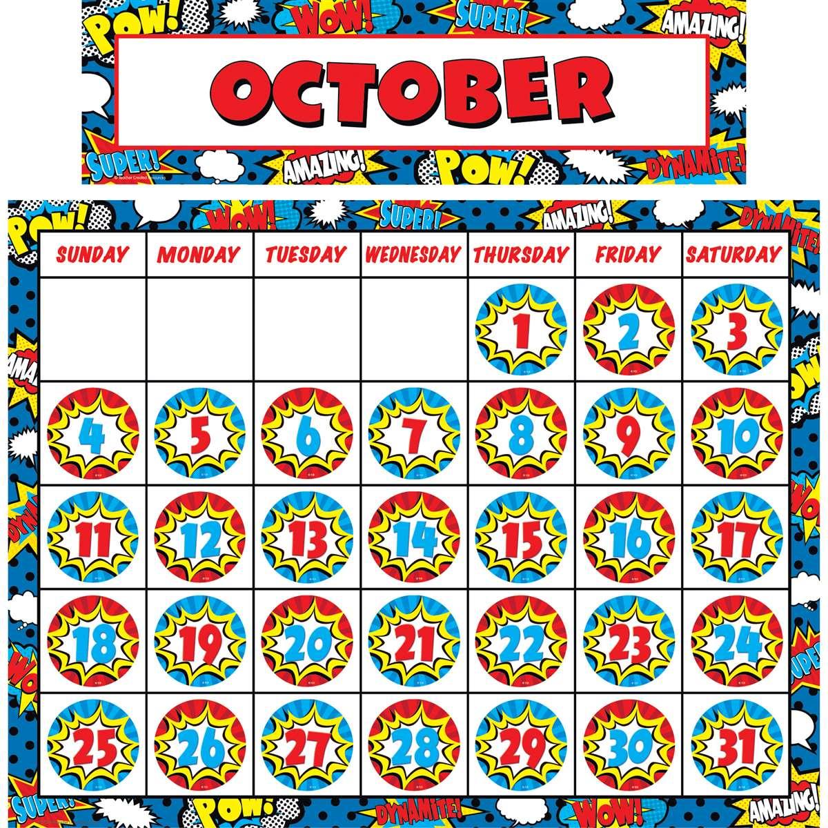 Superhero Calendar Set Tcr9540 Teacher Created Resources