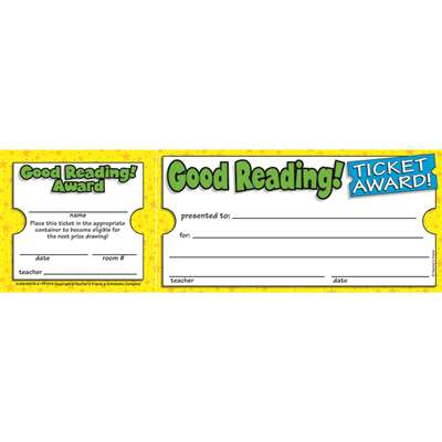 Good Reading Ticket Awards By Teachers Friend