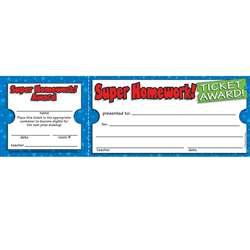 Super Homework Ticket Awards By Teachers Friend