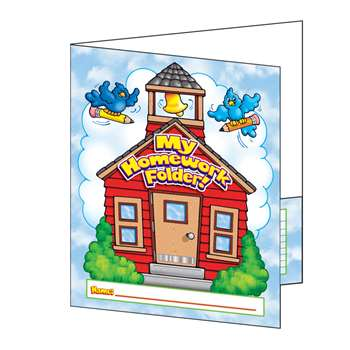 Pocket Folder My Homework Folder 8-1/2 X 11 Plastic-Coated By Teachers Friend