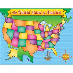 "Usa Map Chart 17"" X 22"" By Teachers Friend"