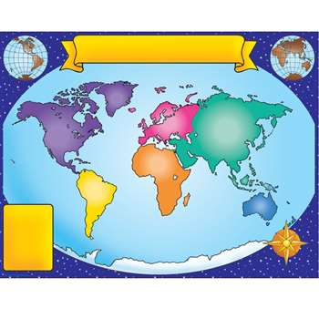 "World Map Chart 17"" X 22"" By Teachers Friend"