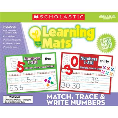 Match Trace & Write Numbers Learning Mats, TF-7108