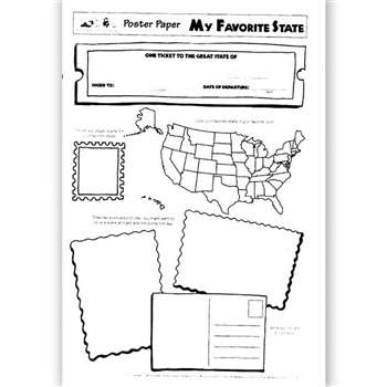 Poster Papers My Favorite 30/Pk State 2-Sided 22 X 17 Gr 3 & Up By Teaching Learning