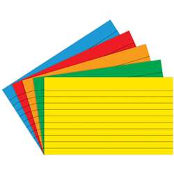 Border Index Cards 3 X 5 Lined Primary Colors 75Ct - Top3662 By Top Notch Teacher Products