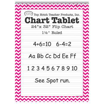 "Pink Chevron Border Chart Tablet 24X32 1 1/2"" Rul, TOP3857"