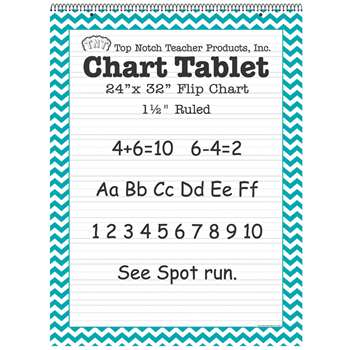 "Teal Chevron Border Chart Tablet 24X32 1 1/2"" Rul, TOP3859"