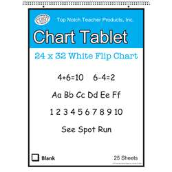 "White Chart Tablet 32X24 1.5"" Ruled 25 Sht, TOP3860"