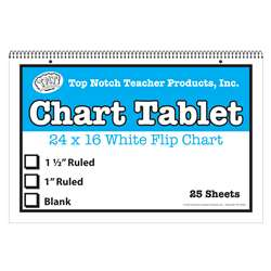 "White Chart Tablet 16X24 1.5"" Ruled 25 Sht, TOP3863"