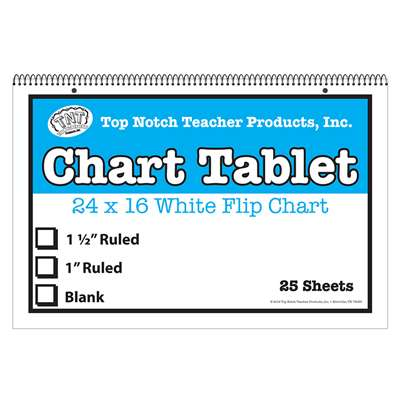 "White Chart Tablet 16X24 1"" Ruled 25 Sht, TOP3864"