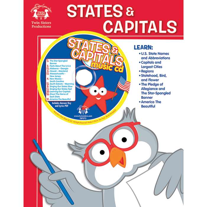 Workbooks & Songs That Teach States & Capitals Workbook & Cd - Twin366Cd By Twin Sisters Productions