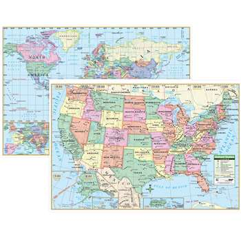 Us & World Wall Maps - Uni12489 By Kappa Map Group / Universal Maps
