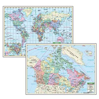 Political Maps Canada World 5/Set Deskpad - Uni15888 By Kappa Map Group / Universal Maps