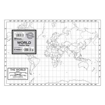 Shop Outline Map Study Pads World - Uni16320 By Kappa Map Group / Universal Maps
