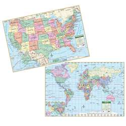 "Us/ World Politcal Rolled Laminated Map Set, 40"" X 28"" - Uni2517627 By Universal Map Group"