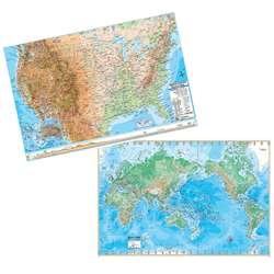 "Us/World Physical Rolled Laminated Map Set, 50"" X 32"" - Uni2982327 By Universal Map Group"