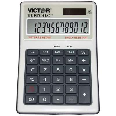 Water & Shock Resistant Calculator W Tax Keys 12 Digit - Vct99901 By Victor Technology
