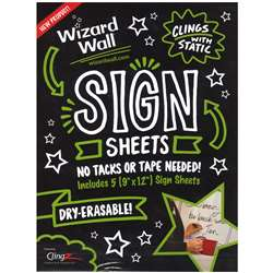 Wizard Wall Sign Sheets 9X12 5Pk, WZW5912SSW