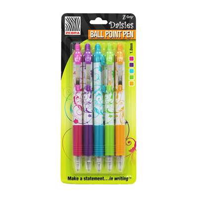 Shop Z Grip Daisies Pack Of 5 - Zeb22605 By Zebra Pen