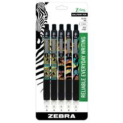 Z Grip Animals 5Pk Retractable Pens - Zeb22805 By Zebra Pen
