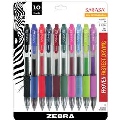Sarasa 10Pk Asstd Gel Retractable Roller Ball Ink Pens With Case - Zeb46881 By Zebra Pen