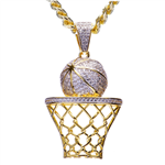 BRASS BASKET BALL PENDANT & CHAIN SET / BCH 13131