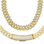 FULL STONE BRASS MIAMI CUBAN CHAIN / CH 205