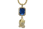 "Men's Hip Hop Pray Hand & Blue Ruby Double Pendant 24"" Rope Chain Set HC 303 G"