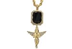 "Men's Hip Hop Angel & Black Ruby Double Pendant 24"" Rope Chain Set HC 314 G"