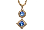 "Men's Hip Hop Blue Ruby Double Pendant 24"" Rope Chain Set KC 7301-1 BL"
