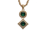 "Men's Hip Hop Green Ruby Double Pendant 24"" Rope Chain Set KC 7301-1 GR"