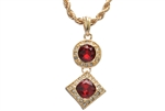 "Men's Hip Hop Red Ruby Double Pendant 24"" Rope Chain Set KC 7301-1 RD"