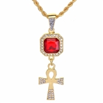 "Men's Hip Hop Ankh & Red Ruby Double Pendant 24"" Rope Chain Set / NA 0161"