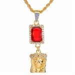 "Men's Hip Hop Jesus Face & Red Ruby Double Pendant 24"" Rope Chain Set / NA 0171"