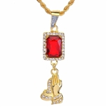 "Men's Hip Hop Praying Hands & Red Ruby Double Pendant 24"" Rope Chain Set / NA 0174"