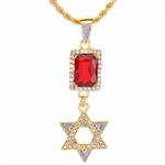 "Men's Hip Hop 6 pts. Star & Red Ruby Double Pendant 24"" Rope Chain Set / NA 0176"
