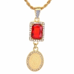 "Men's Hip Hop Guadalupe & Red Ruby Double Pendant 24"" Rope Chain Set / NA 0181"