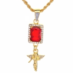 "Men's Hip Hop Angel & Red Ruby Double Pendant 24"" Rope Chain Set / NA 0183"