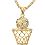 STAINLESS STEEL BASKET BALL PENDANT & CHAIN SET / SCP 3086