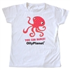 Dancing pink octopus design on a toddler tee.