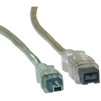 WholesaleCables.com 10E3-94006 6ft Firewire 400 9 Pin to 4 Pin cable Clear IEEE-1394a