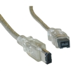 WholesaleCables.com 10E3-96015 15ft Firewire 400 9 Pin to 6 Pin Cable Clear IEEE-1394a
