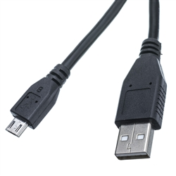 WholesaleCables.com 10U2-03103BK 3ft Micro USB 2.0 Cable Black Type A Male / Micro-B Male