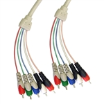 10V2-13106 6ft RCA Component Video With Audio Cable 3 RCA Male (RGB) and 2 RCA Male (Audio)