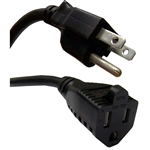 10W1-04203-16 3ft Power Extension Cord Black NEMA 5-15P to NEMA 5-15R 13 Amp 16 AWG UL/CSA rated