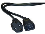 10W1-05203 3ft Power Cord Adapter Black C14 to NEMA 5-15R 10 Amp UL/CSA rated