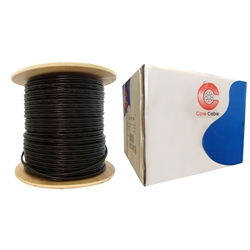 WholesaleCables.com 10X3-68222NH Direct Burial/Outdoor rated RG59 Siamese Coaxial/Power Cable Black Solid Core (Copper) Coax 18/2 (18 AWG 2 Conductor) Stranded Copper Power Spool 1000 foot