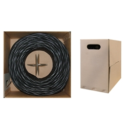 10X6-022TH 1000ft Bulk Cat5e Black Ethernet Cable Solid UTP Pullbox