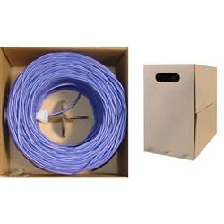 WholesaleCables.com 10X6-041TH 1000ft Bulk Cat5e Purple Ethernet Cable Solid UTP Pullbox